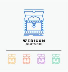 Box chest gold reward treasure 5 color line web vector