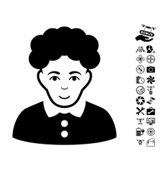 Brunette Woman Icon With Copter Tools Bonus vector