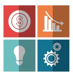 Business people with icons graphic design vector