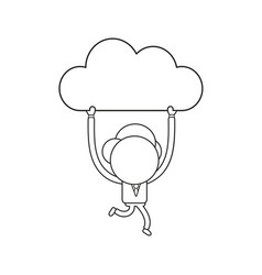 businessman character running and carrying cloud vector image