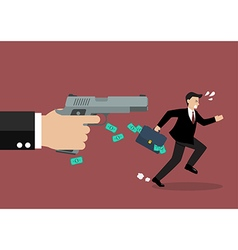 Businessman running away from a hand holding gun vector