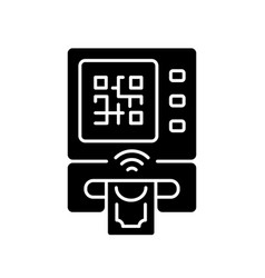 Cardless atm black glyph icon vector