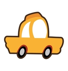 Cartoon car cab yellow icon vector