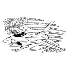 cartoon fighter plane twin-engine vector image