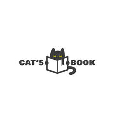 Cats book logo vector