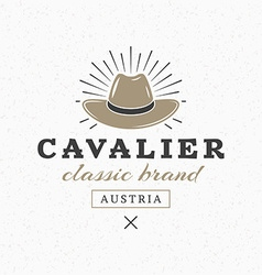 Cavalier Hat Vintage Retro Design Elements for vector