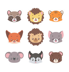 Collection cute little animal portraits vector