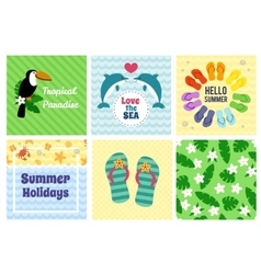 Collection of summer decorative cards vector image