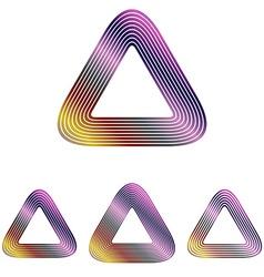 Color line triangle logo design set vector