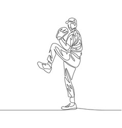 Continuous line baseball pitcher going to throw vector