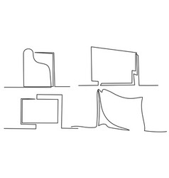 Continuous one line drawing set frames and vector