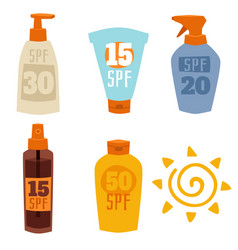 Cream sunscreen bottle isolated on white vector
