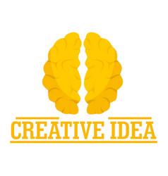creative idea brain logo flat style vector image