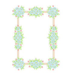 daisy flowers pastel rectangle frame vector image