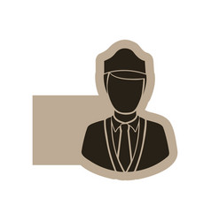 Dark contour guard person icon vector