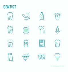 Dentist thin line icons set vector