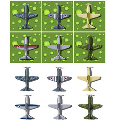 different designs of military airplanes vector image