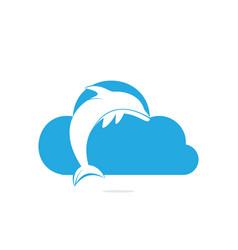 Dolphin cloud logo design vector