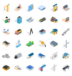 Engeneering icons set isometric style vector