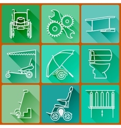 Equipment for persons with disabilities Set of vector