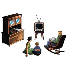 Family watcing TV vector image
