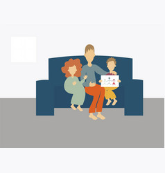 Father sitting on couch with kids vector