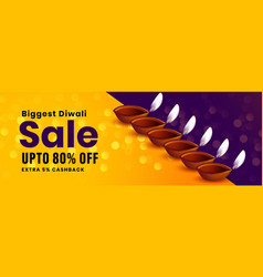 festival sale banner happy diwali occasion vector image
