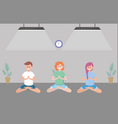 fit people practicing yoga vector image