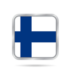 flag of finland shiny metallic gray square button vector image