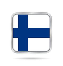 flag of finland shiny metallic gray square button vector image