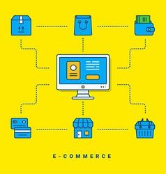 Flat conceptual E-commerce thin line for website vector