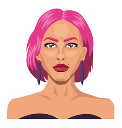 girl with short pink hair on white background vector image