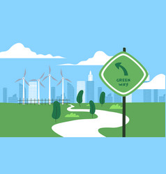 Green eco friendly city wind mill park landscape vector