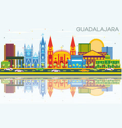 Guadalajara mexico skyline with color buildings vector