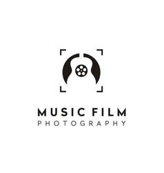 Guitar music film reel photo lens frame logo vector