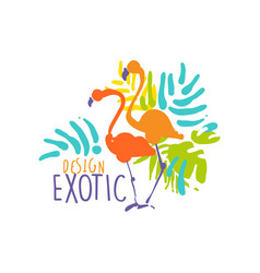 Hand drawn exotic logo template with couple of vector