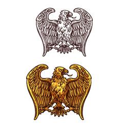 Heraldic gold eagle bird sketch vector