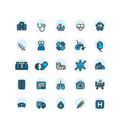 Hospital filled outline icon set vector