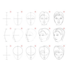 How to draw sketch human head in different vector