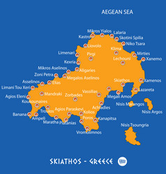 Island of skiathos in greece orange map and blue vector
