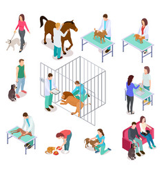 isometric veterinary animals shelter people pet vector image