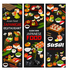 Japanese sushi cafe and asian food delivery menu vector