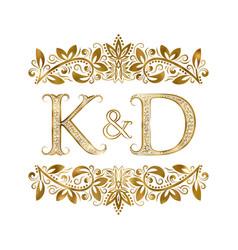k and d vintage initials logo symbol letters vector image