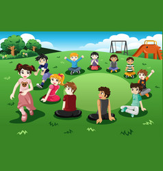 Kids playing duck duck goose vector