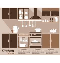 Kitchen interior infographic template vector