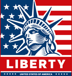 Liberty statu nyc symbol usa flag vector