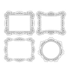 lineart vintage photo picture portrait frames set vector image