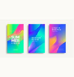 liquid colorful geometric shapes cover set design vector image