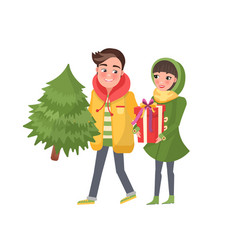man and woman spruce isolated merry couple vector image