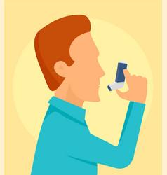 Man take spray inhaler background flat style vector